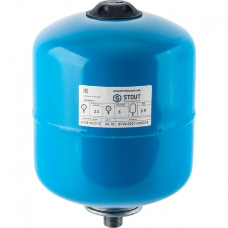 STOUT 8 л. Расширительный бак, гидроаккумулятор вертикальный (цвет синий)