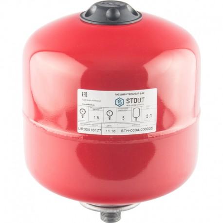 STOUT 5 л. Расширительный бак на отопление (цвет красный)