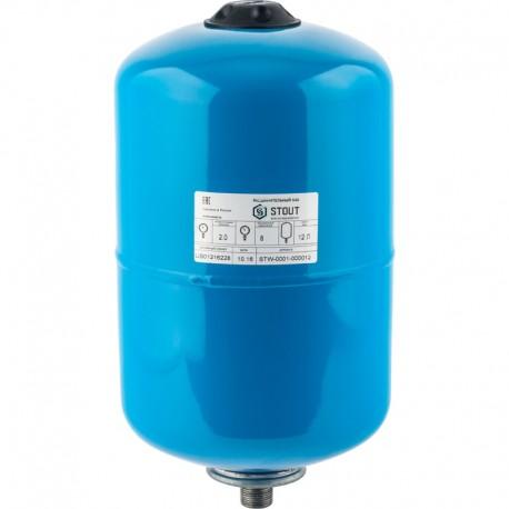 STOUT 12 л. Расширительный бак, гидроаккумулятор вертикальный (цвет синий)