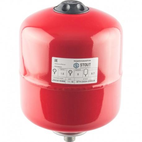 STOUT 8 л. Расширительный бак на отопление (цвет красный)