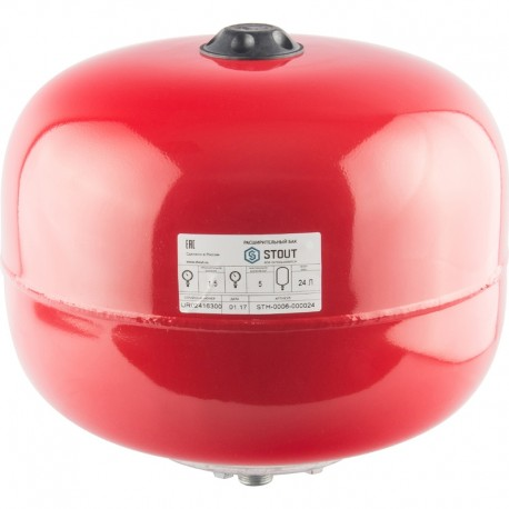 STOUT 24 л. Расширительный бак на отопление (цвет красный)