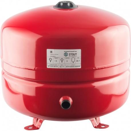 STOUT 35 л. Расширительный бак на отопление (цвет красный)